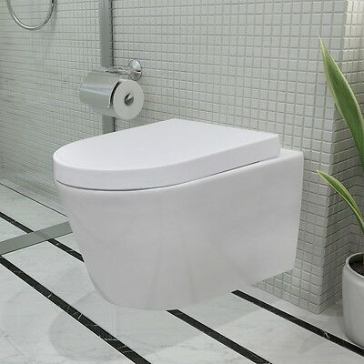 Ceramic Plastic Toilet with Soft Close Bathroom WC Pan Bowl Seat White Wall Hung