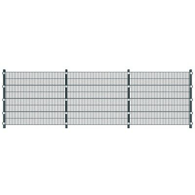 Garden Fence Security Panel Railing Boarder with Posts Iron Metal Grey 6 x 1,6 m