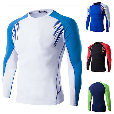 Mens Men O-Neck Long Sleeve T-Shirt Fit Quick Dry Solid Pullover Tee Shirts Tops