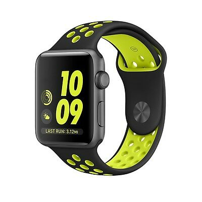 iWatch Apple Watch 42mm Series 2 /1 Band Sport Rubber Silicone Strap Black/Volt