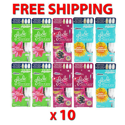 10 x Glade Sense & Spray Automatic Freshener Refill Mixed Varieties 12.2g