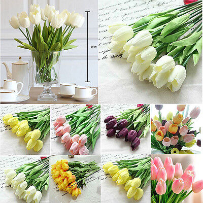 Tulip Artificial Fake Flower Latex Real Touch Bridal Wedding Bouquet Home Decor