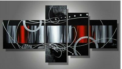 Modern Abstract Oil Painting on Canvas Hand-painted Wood Framed Wall Art Decor