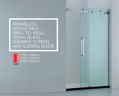 Premium Adjustable Wall to Wall Frameless 10mm Sliding Glass Panel Shower Screen