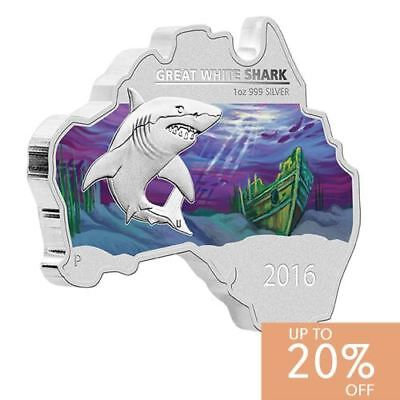 New Perth Mint Australian Map Shaped Coin – Great White Shark 1oz Silver Coin
