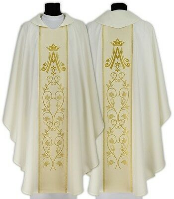 Cream Marian Gothic Chasuble with matching stole 085-K us