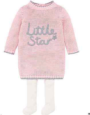 Ex Mothercare Baby Girls Pink Little Star Knitted Dress & Tights 3 6 9 12 18 24