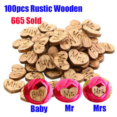 100X Wooden Heart Mr Mrs Table Decoration Confetti Vintage Rustic Wedding Party