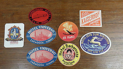 vintage LUGGAGE STICKERS HOTEL 50's AIR FRANCE AUSTRIA ETIQUETTES BAGAGES