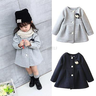 Kids Baby Girls Winter Warm Button Long Sleeve Hooded Coat Outerwear Jacket