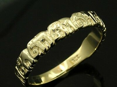R017-  ADORABLE Genuine 9ct Solid Yellow Gold LUCKY Elephant BAND Ring size N