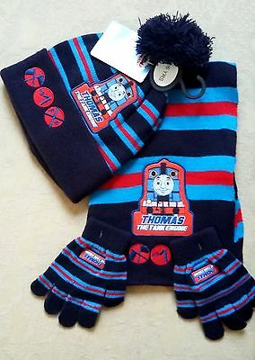 Boys Thomas the Tank Engine Knitted Bobble Hat Scarf & Gloves Set 2-6Y Xmas Gift