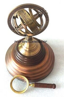 Collectible Decorative Amazing Sphere Armillary With Wooden Base FREE MAGNIFYING