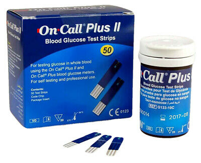 50 ON CALL PLUS BLOOD GLUCOSE STRIPS METER/MONITOR (mmol) TESTING STRIPS