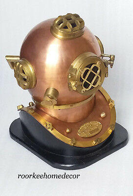 Vintage Collectible Diver Diving Helmet With Wooden Base & Free Table Clock