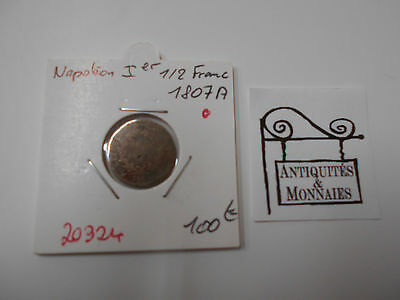 Napoleon 1Er 1/2 Franc 1807 A - Old French Coin - Ref20324