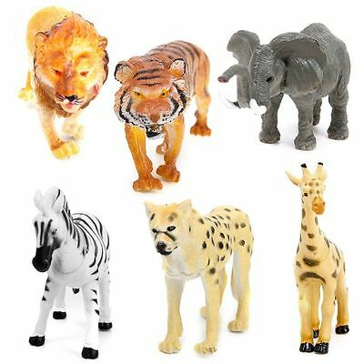 6pcs Plastic Model Wild Animals Toy Tiger Leopard Lion Giraffe Zebra Elephant