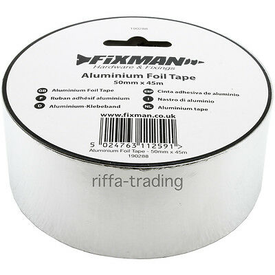 Aluminium Foil Tape, Insulation Joint,Ducting,Sealing,Heat,Pipe,Silver,Air,Flame