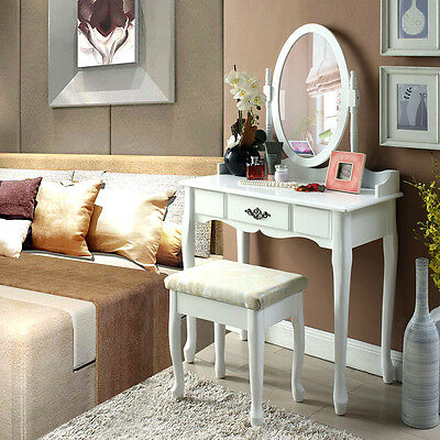 Shabby Chic Dressing Table Vanity Stool Set Oval Mirror 3 Drawers Makeup Dresser
