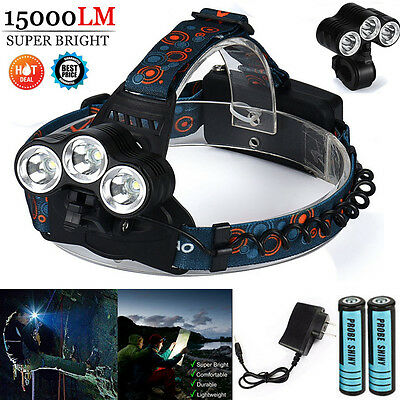 15000Lm Cree 3x T6 LED Rechargeable 18650 Outdoor Headlamp Headlight Lamp Torch