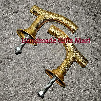 Antique Pair Brass Hand Door Handle Art Knob Hand Handle Decor