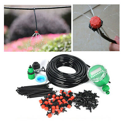 DIY 25M Micro Drip Irrigation System Garden Plant Automatic Timer Watering Tool