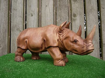 Hand Carved Wooden Rino Statue
