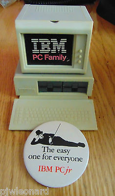 IBM 5150, Desk Caddy and PCjr, Pinback Button, 1983 Promotional Items