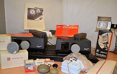 Rotomatic View-Master Electrofade Twin Slide Projectors with lenses, trays, etc