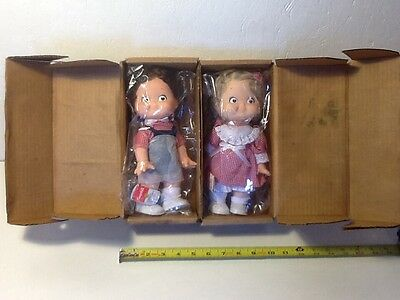 1988 Campbells Soup Company Campbell Kids Boy and Girl Dolls with Original Boxes