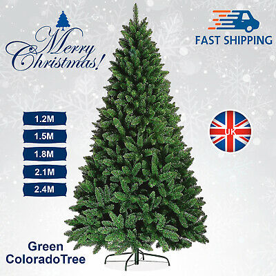 Green 5ft,6ft,7ft Artificial Colorado Luxury Christmas Xmas Tree w/ Metal Stand