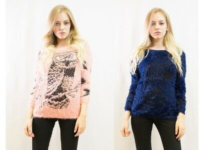 Lady Fluffy pretty cute bird of Minerva print warm jumper pink blue color