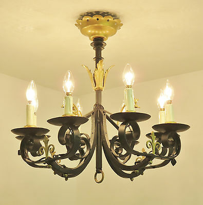 Superb French Vintage Wrought Iron Chandelier Light Lamp 8 Arms Chateau Style