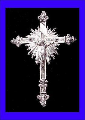 Large Antique Sterling Silver Crucifix. Probably Austrian. 18th-19th Century