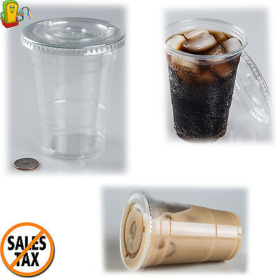 100 Clear Disposable Plastic Cups with Flat Lids 16-Ounce PLASTIC PARTY CUP