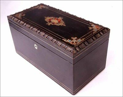 Antique Tea Box with Boulle-Style Marquetry Decoration. France, Circa 1870