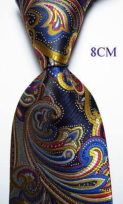 New Classic Paisley Blue Gold Red White JACQUARD WOVEN Silk Men's Tie Necktie
