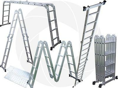 15.5FT Step Platform Multi Purpose Aluminum Folding Scaffold Ladder 330LBs 150kg