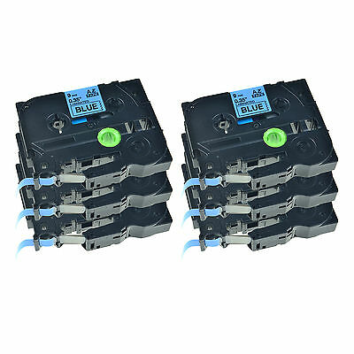 """6PK TZ TZe-521 Black on Blue Tape 3/8"""" For Brother P-touch 1230PC Lable Maker"""