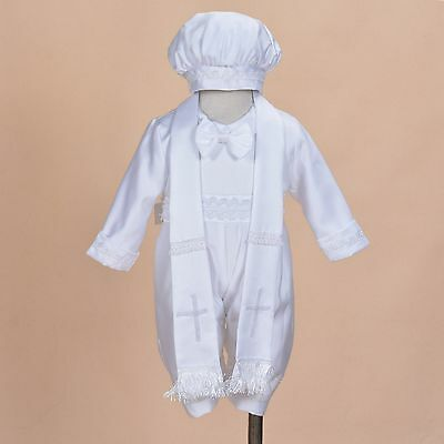 Cinda Boys Satin Christening Romper Set with Hat and Scarf 0-3 to 9-12 Months