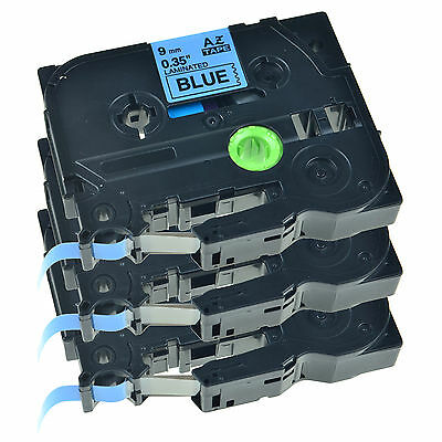 3PK 9mm TZ TZe-521  Black on Blue Lable Tape For Brother P-touch E300 E500 E550W