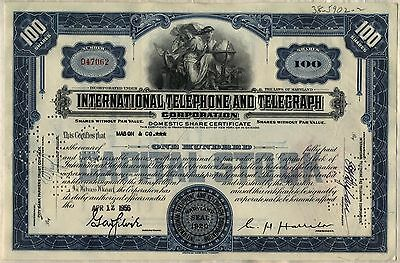 International Telephone & Telegraph Stock Certificate ITT Older Style