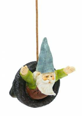 "3"" My Fairy Gardens Mini Figure - Gnome in Tire Swing - Miniature Figurine Decor"