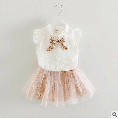 Girls Tutu Skirt Blouse Top Outfit Set 2-3 3-4 4-5 5-6 6-7 Years Uk Seller