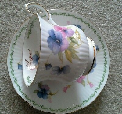 """Queen's """"Pansy"""" AUGUST'Bone China Tea Cup &Saucer set,England birthday present"""