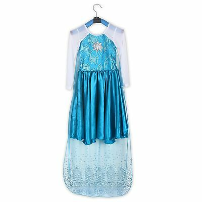 Girls Frozen Princess Queen Elsa Costume Party Birthday Dress with Cape 2-10Yrs