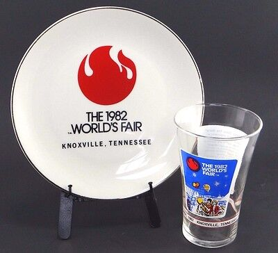 1982 World's Fair Collector's Plate & Glass Knoxville Tennessee McDonald's