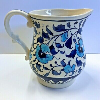 """Multani Hand Painted Pitcher Vase Blue and White Flowers Floral Design 5-5/8"""""""