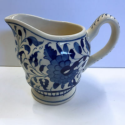 """Multani Hand Painted Pitcher Vase Blue and White Flowers Floral Design 5-1/4"""""""