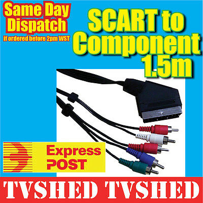 SCART to Component Video Stereo Audio AV Lead 1.5 Suitable for Foxtel